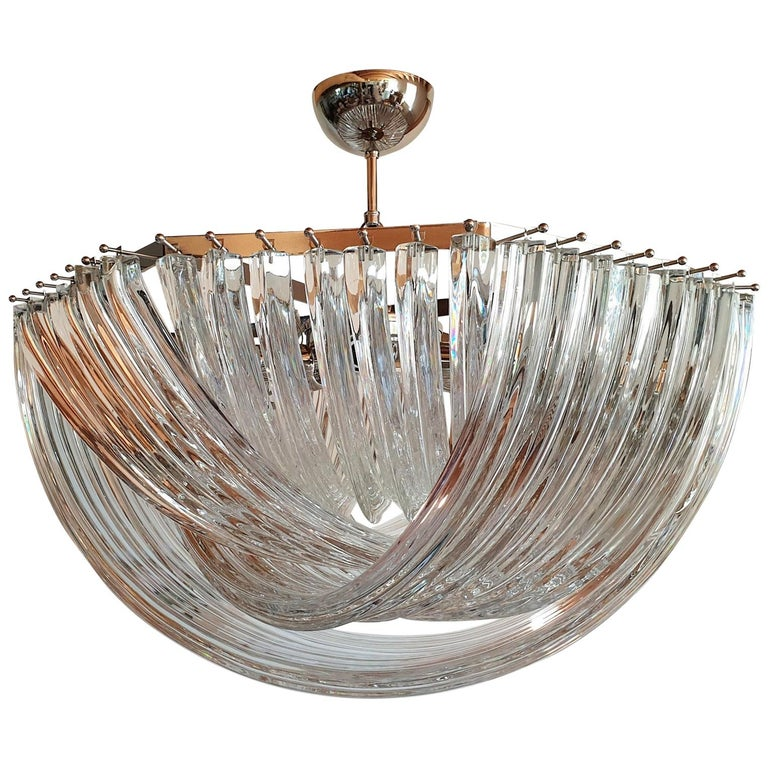 Large Mid-Century Modern Venini Chandelier Clear Murano Glass Tubes, 2 Available For Sale