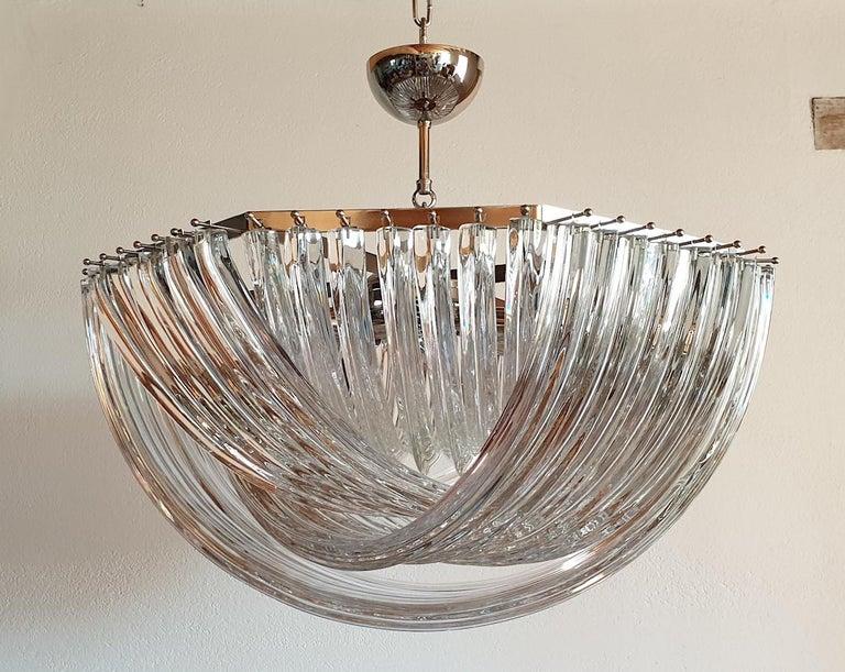 Italian Large Mid-Century Modern Venini Clear Murano Glass Triedri Chandelier Italy 1980 For Sale