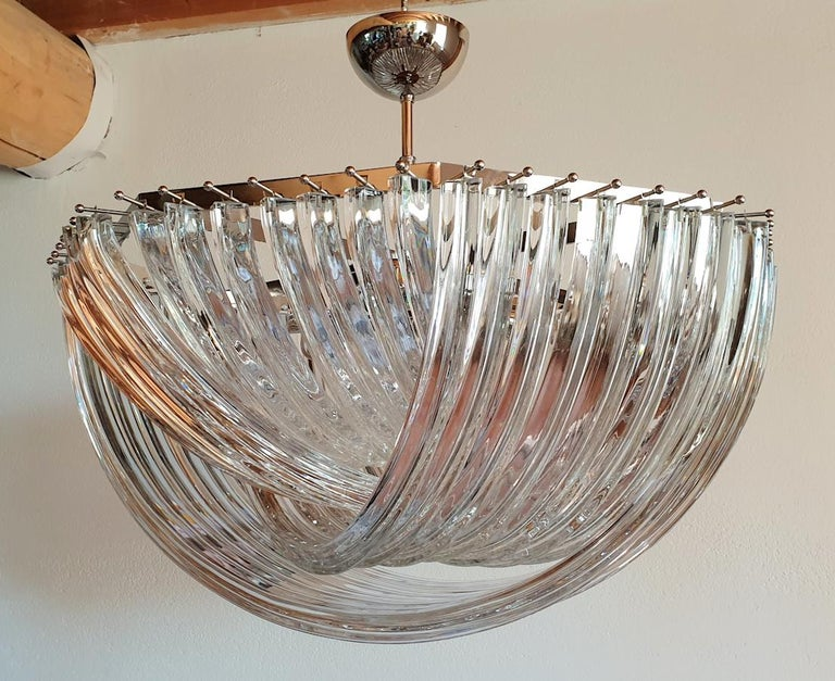 Hand-Crafted Large Mid-Century Modern Venini Clear Murano Glass Triedri Chandelier Italy 1980 For Sale