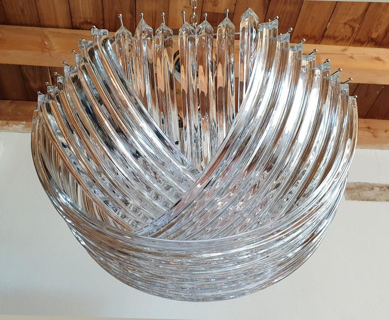 Late 20th Century Large Mid-Century Modern Venini Clear Murano Glass Triedri Chandelier Italy 1980 For Sale