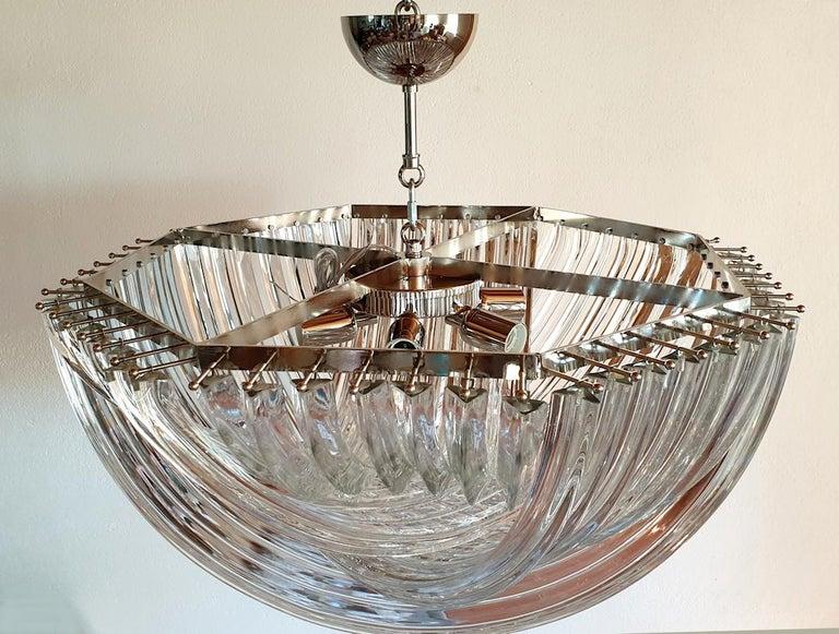 Chrome Large Mid-Century Modern Venini Clear Murano Glass Triedri Chandelier Italy 1980 For Sale