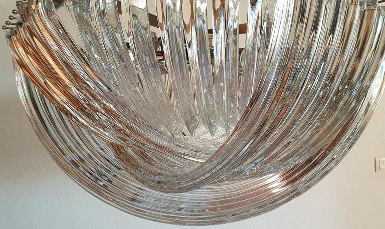 Large Mid-Century Modern Venini Clear Murano Glass Triedri Chandelier Italy 1980 For Sale 2
