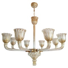 Large Mid-Century Modern Vintage Murano Glass Chandelier by Barovier, Italy 1960