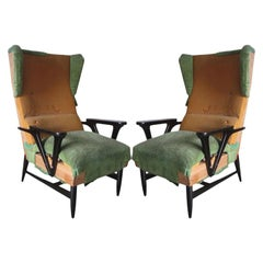 Large Mid-Century Modern Wing-back Lounge Chairs Carlo Mollino Attributed, Pair