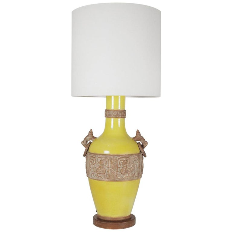 Large Mid Century Modern Yellow Porcelain Aztec Style Table Lamp For