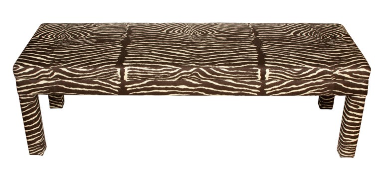 Large Mid-Century Modern brown zebra print Parsons bench. Recently reupholstered.