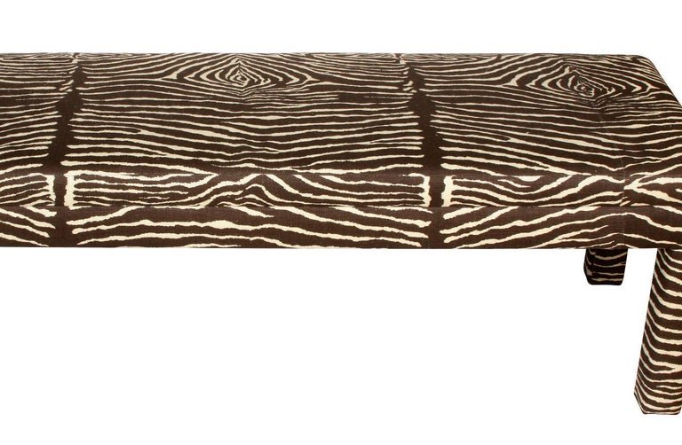 American Large Mid-Century Modern Zebra Parsons Bench For Sale
