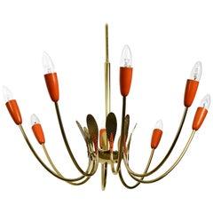 Large Mid-Century Modernist 8 Armed Sputnik Brass Chandelier with Metal Cones