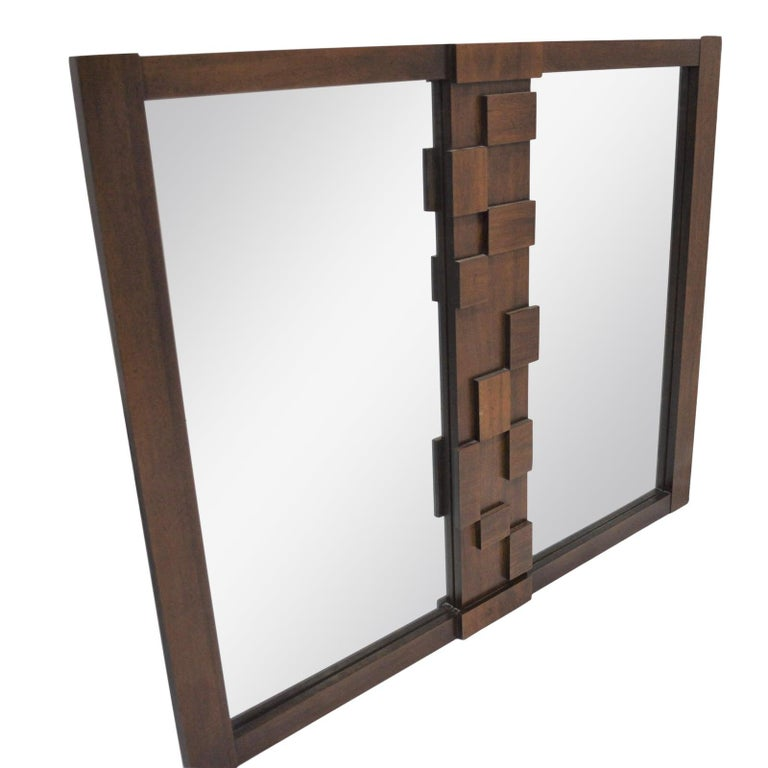 Large Mid-Century Modernist Brutalist Double Mirror by Lane Furniture In Good Condition For Sale In Dallas, TX