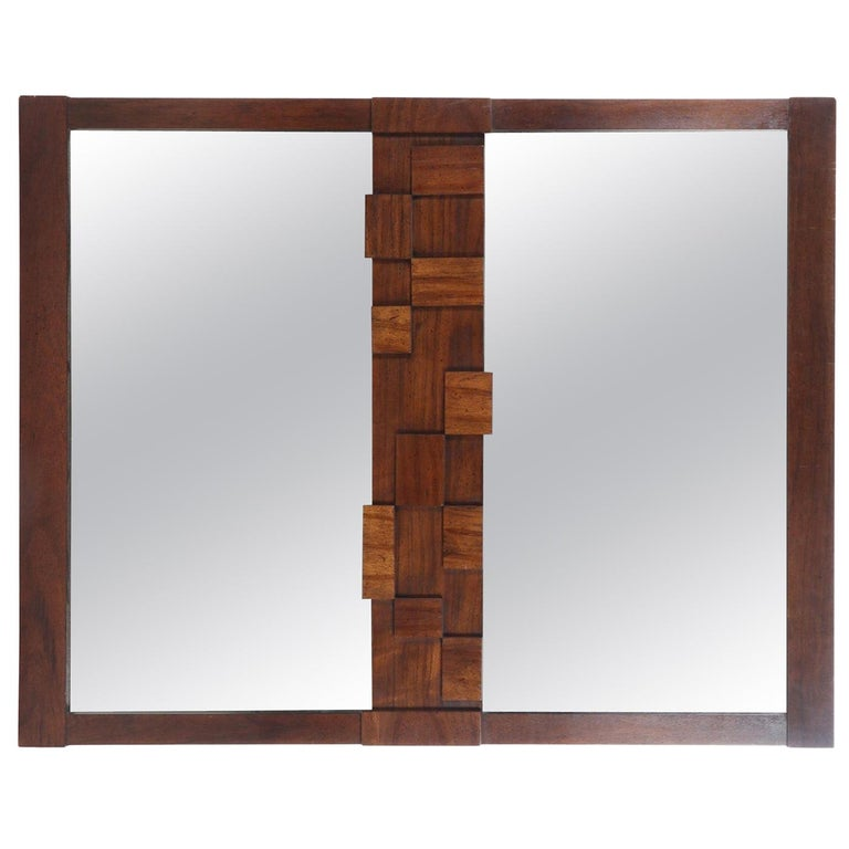 Large Mid-Century Modernist Brutalist Double Mirror by Lane Furniture For Sale