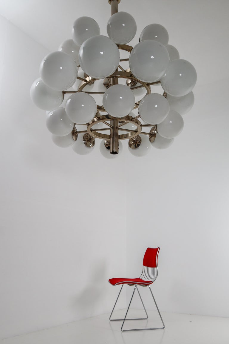 20th Century Large Mid-Century Modernist Chandelier with 30 Hand Blown Opaline Glass Globes For Sale