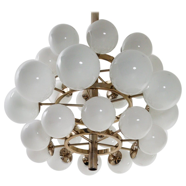 Large Mid-Century Modernist Chandelier with 30 Hand Blown Opaline Glass Globes For Sale