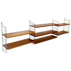 Large Midcentury Modular Danish Modern Nisse Strinning Wall Shelves Shelf