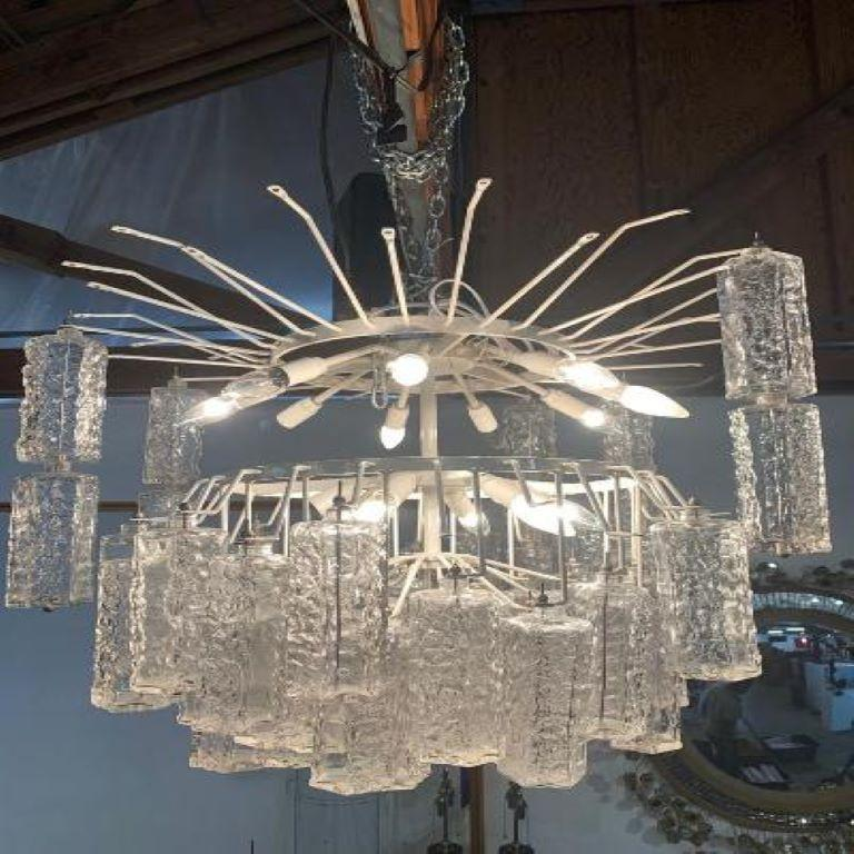 Large Mid-Century Murano Glass Chandelier by Toni Zuccheri for Venini For Sale 4
