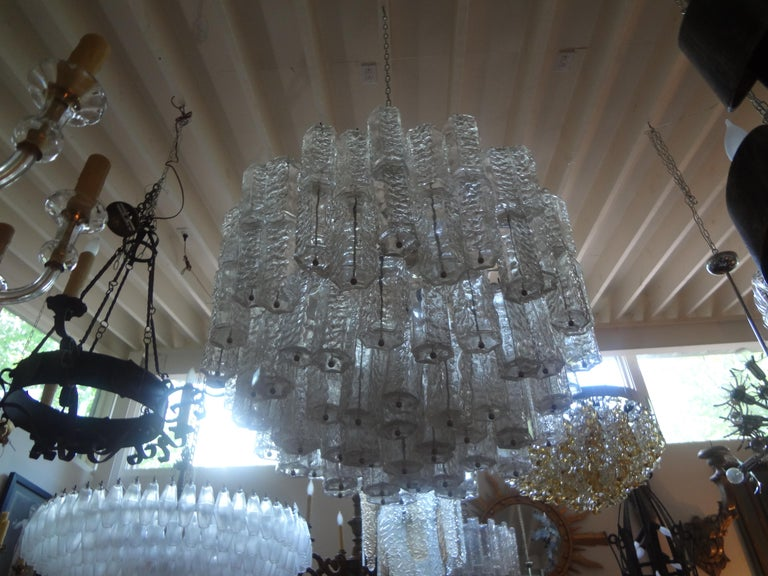 Large Mid-Century Murano Glass Chandelier by Toni Zuccheri for Venini For Sale 2