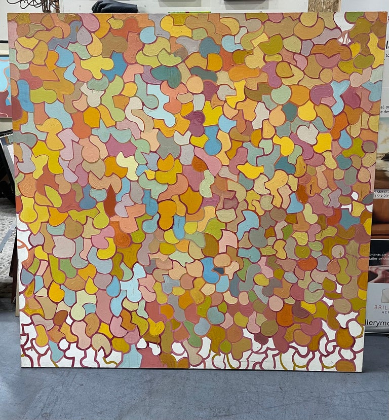 Large mid-century original oil on canvas abstract painting by Patricia Sloane, circa 1960s. Sloane was an American painter, author, and professor of Fine Arts at NYC Technical College of the City University of New York. She was best known for her