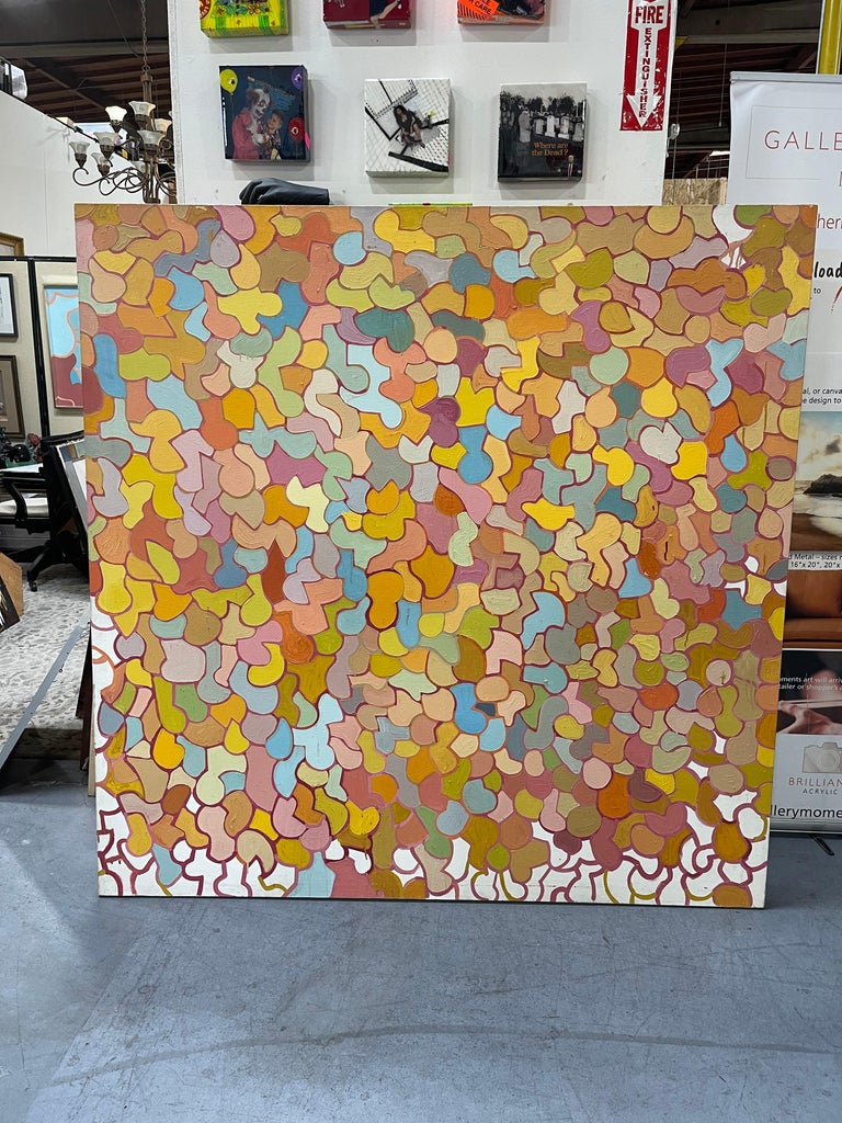 Mid-Century Modern Large Mid-Century Original Oil on Canvas Abstract Painting by Patricia Sloane For Sale