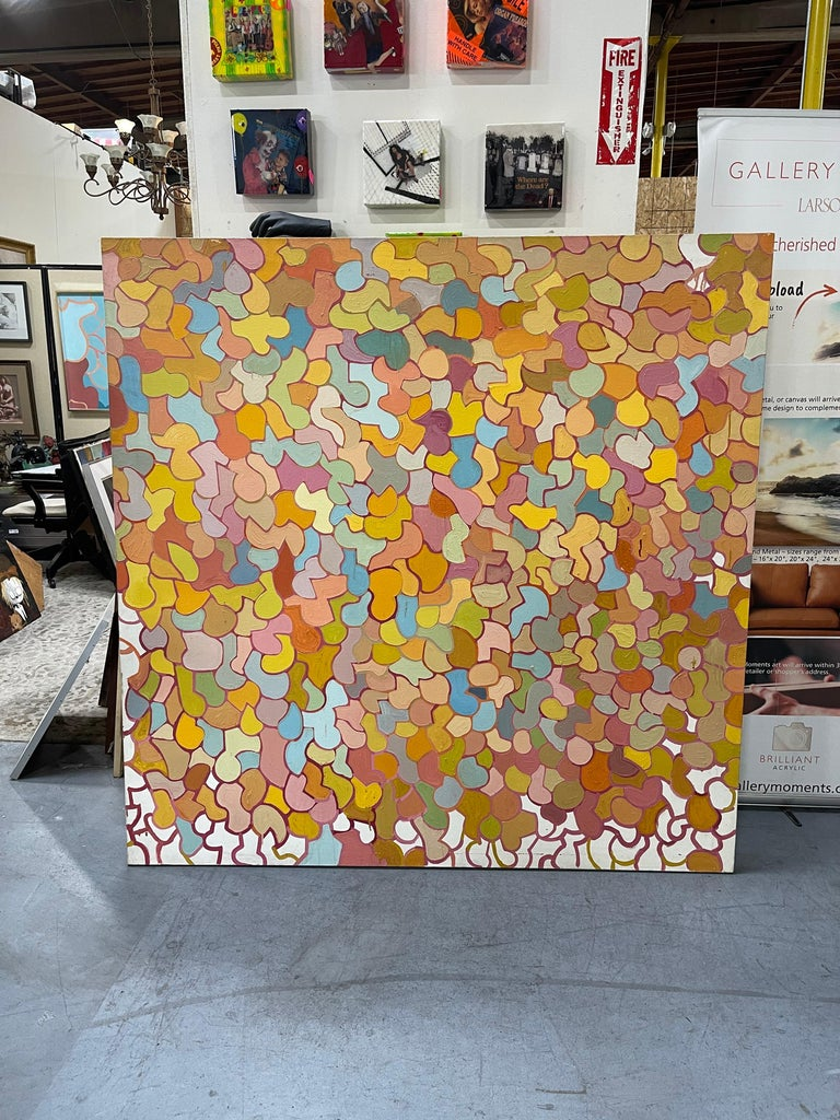 Large Mid-Century Original Oil on Canvas Abstract Painting by Patricia Sloane For Sale 3