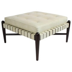 Large Midcentury Ottoman or Stool with Creme Leatherette Straps and Seat