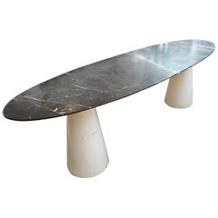 Large Mid-Century Oval Marble Console/Table, Italy, 1970s