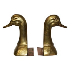 Large Midcentury Oversize Gold Brass Duck Bookends a Pair, Made in Spain
