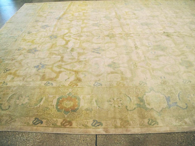 Wool Large Mid-Century Persian Modernist Carpet With Soft Colors For Sale