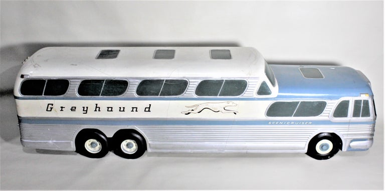 Hand-Crafted Large Mid-Century Plaster 'Scenicruiser' Greyhound Bus Advertising Display Model For Sale