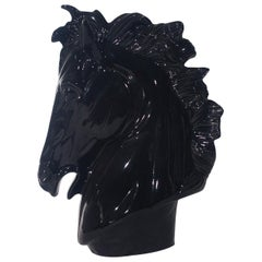 Large Midcentury Postmodern Black Ceramic Horse Head Pottery Sculpture