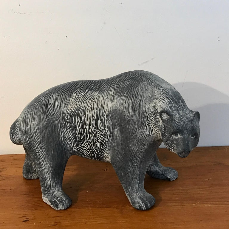 Large midcentury pottery bear, Attributed to Tony Evans, Well modeled strutting bear. Unmarked.