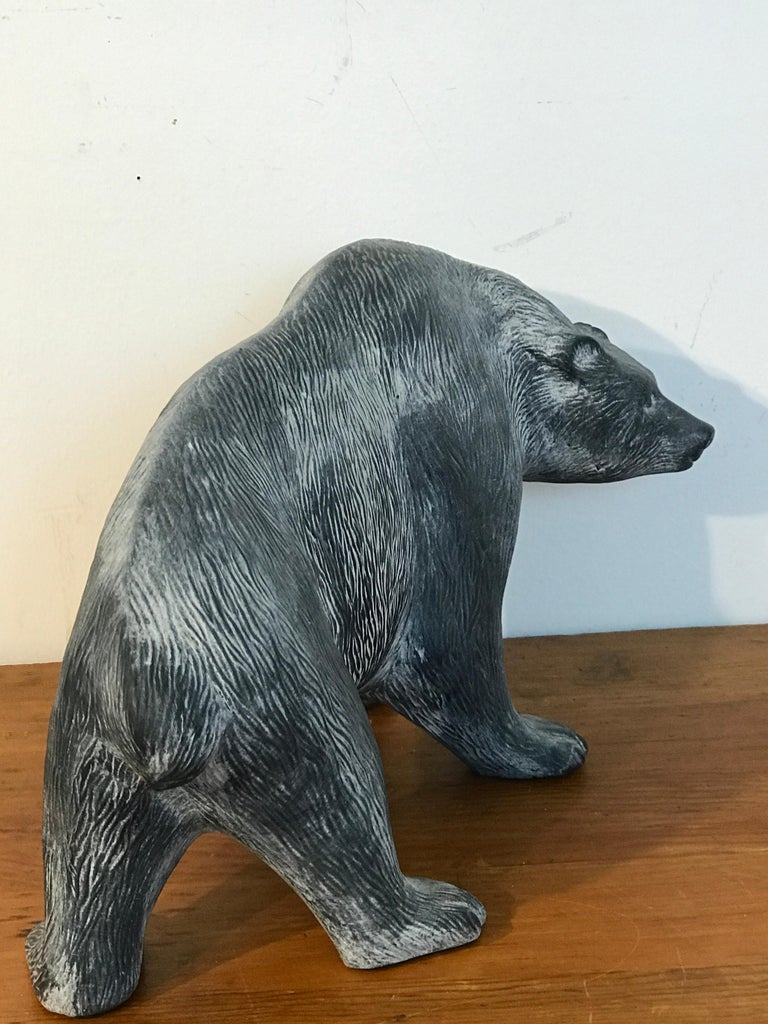 American Large Midcentury Pottery Bear, Attributed to Tony Evans For Sale
