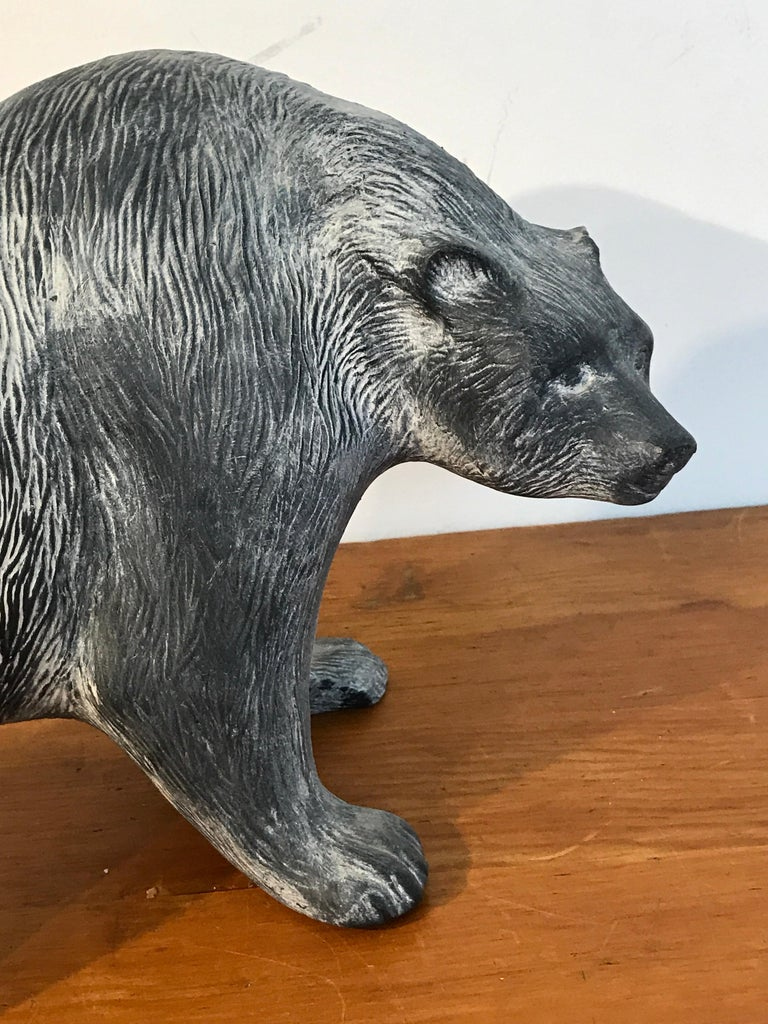 Large Midcentury Pottery Bear, Attributed to Tony Evans For Sale 2