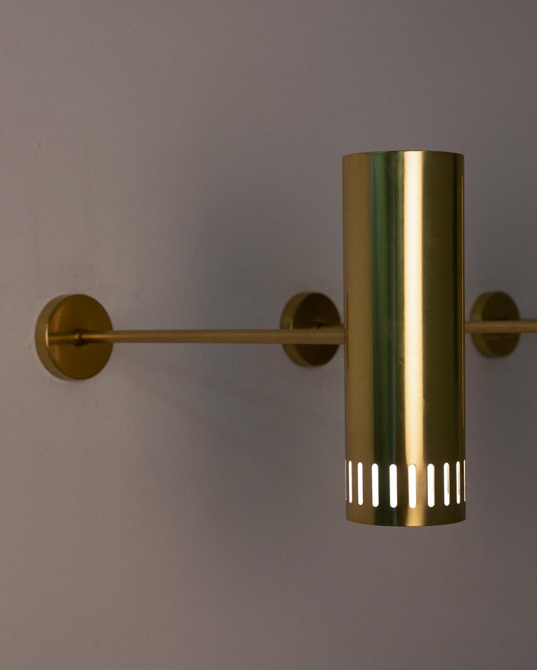 Large Midcentury Scandinavian Brass Wall Lamps by Boréns For Sale 6