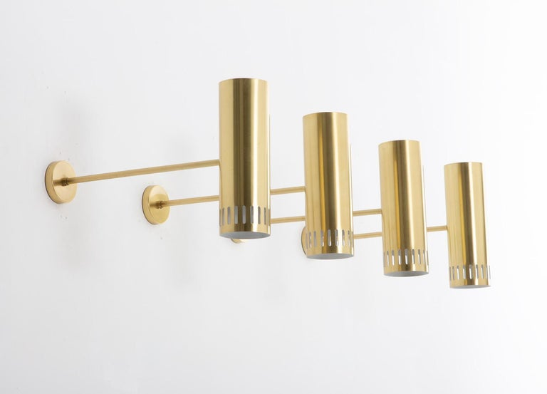 Mid-Century Modern Large Midcentury Scandinavian Brass Wall Lamps by Boréns For Sale