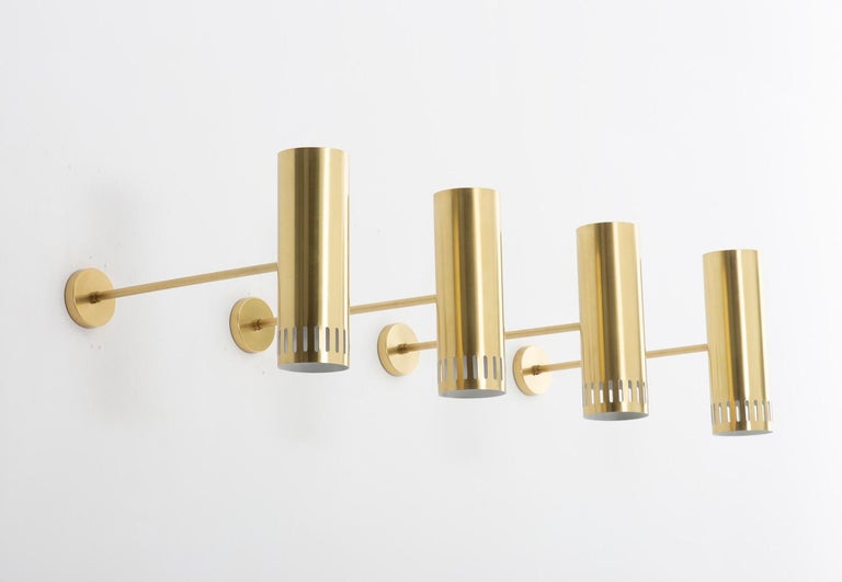 Swedish Large Midcentury Scandinavian Brass Wall Lamps by Boréns For Sale