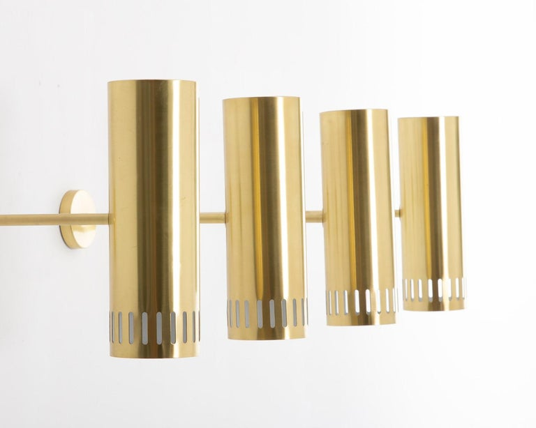 Large Midcentury Scandinavian Brass Wall Lamps by Boréns In Good Condition For Sale In Karlstad, SE