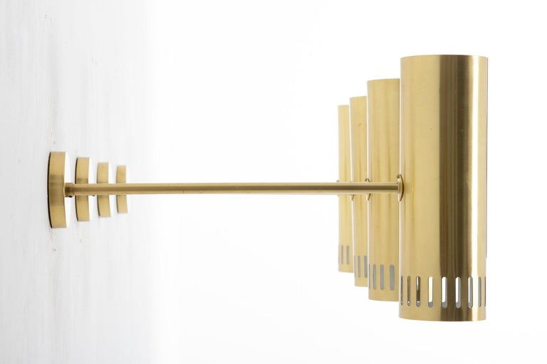 20th Century Large Midcentury Scandinavian Brass Wall Lamps by Boréns For Sale