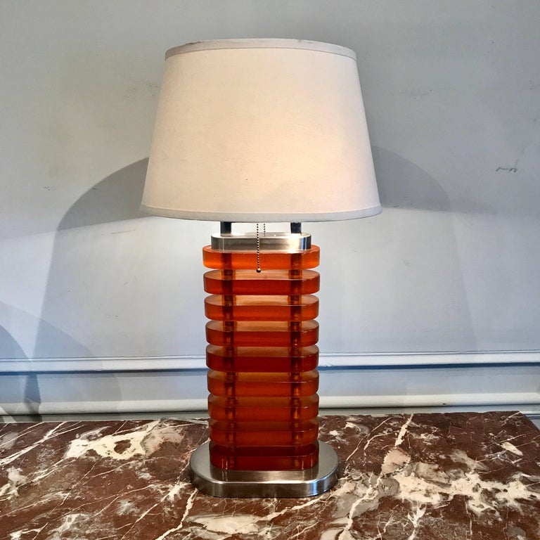 Mid-Century Modern Large Midcentury Stacked Amber Lucite Lamp For Sale