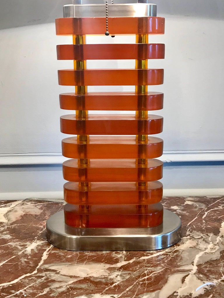 American Large Midcentury Stacked Amber Lucite Lamp For Sale