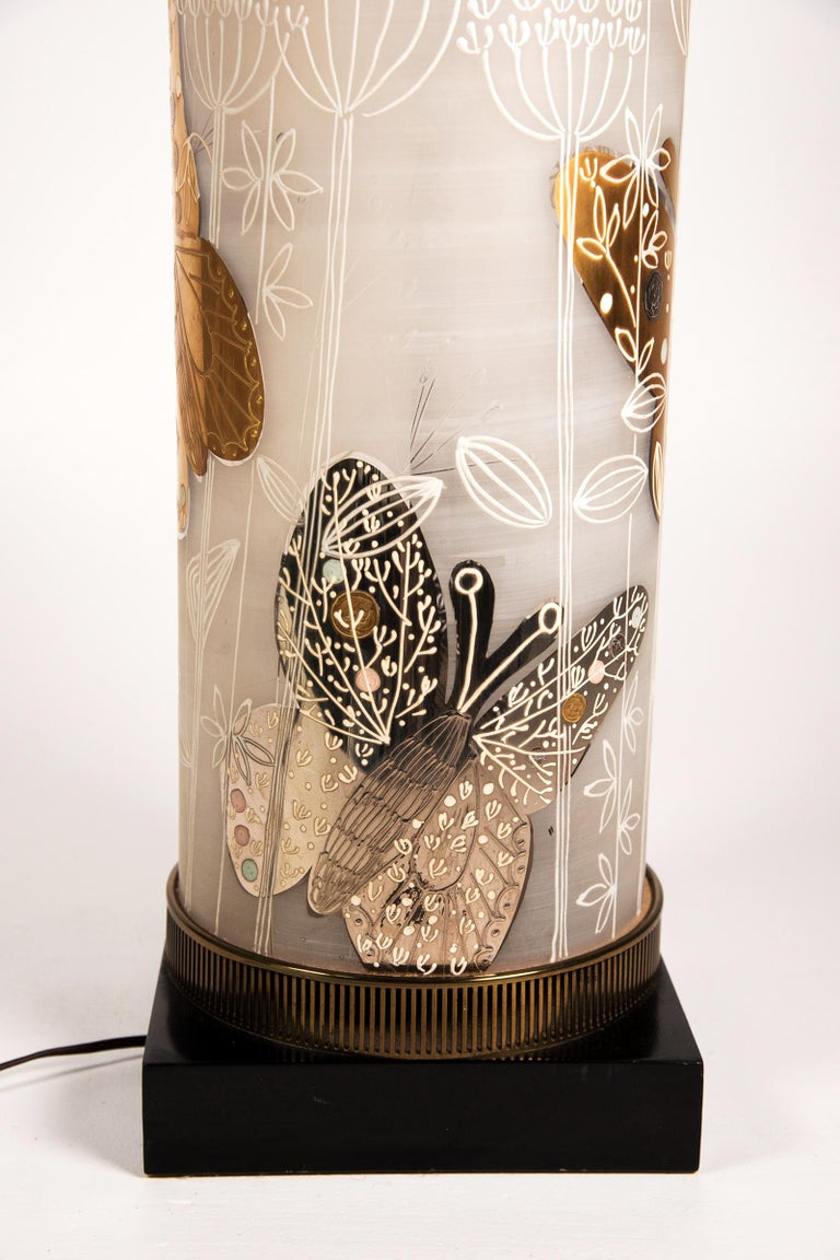 Large midcentury table lamp satin glass with hand-painted butterflies. The cylindrical body of a frosted glass with gilt butterfly decoration. The surface is also decorated with a white enamel overlay.