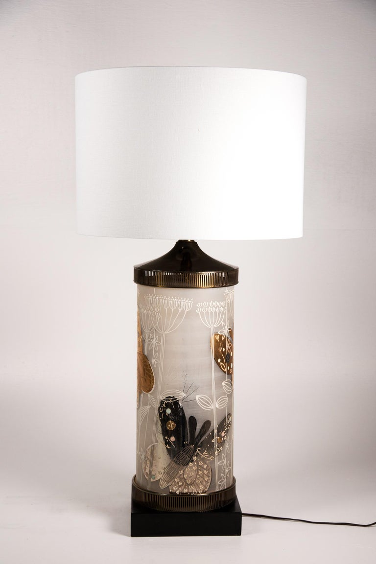 Mid-20th Century Large Mid-Century Table Lamp Satin Glass with Hand-Painted Butterflies For Sale