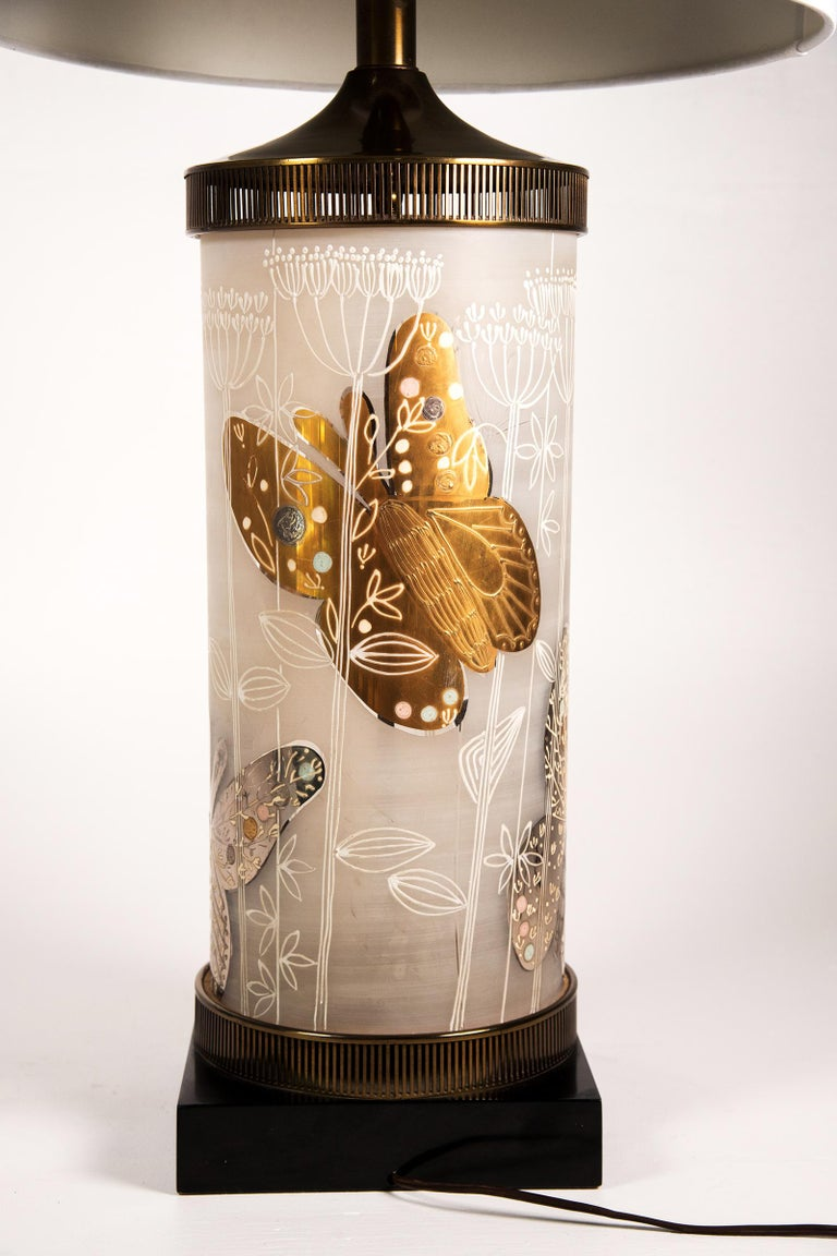 Large Mid-Century Table Lamp Satin Glass with Hand-Painted Butterflies For Sale 2