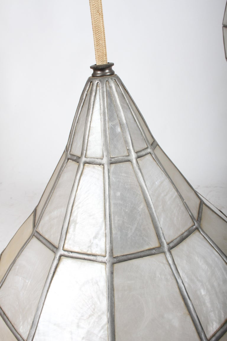 Large Mid-Century Three-Arm Tiered Capiz Shell Teardrop Chandelier For Sale 6