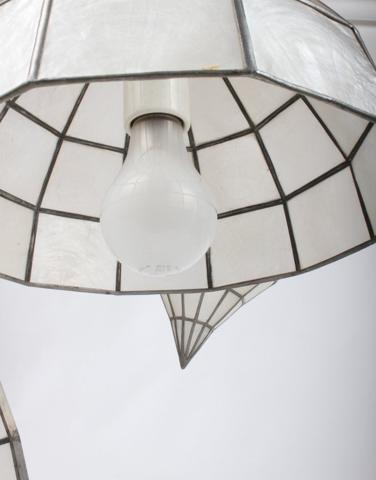 Large Mid-Century Three-Arm Tiered Capiz Shell Teardrop Chandelier For Sale 8