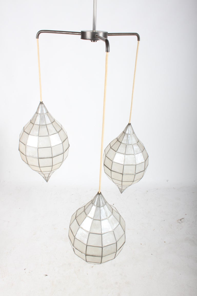 Large Mid-Century Three-Arm Tiered Capiz Shell Teardrop Chandelier For Sale 13