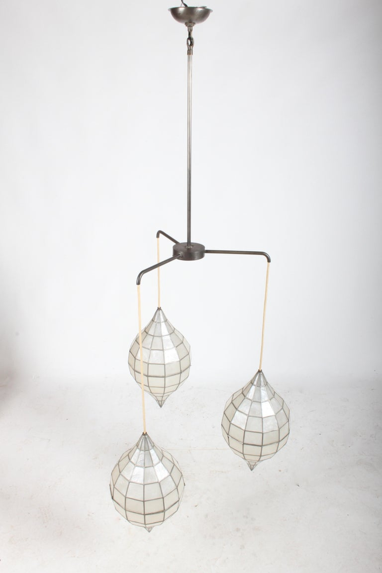 Mid-Century Modern Large Mid-Century Three-Arm Tiered Capiz Shell Teardrop Chandelier For Sale