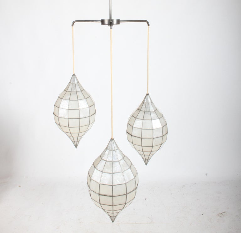 Mid-20th Century Large Mid-Century Three-Arm Tiered Capiz Shell Teardrop Chandelier For Sale