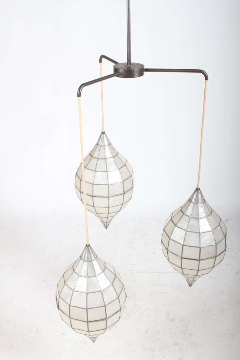 Large Mid-Century Three-Arm Tiered Capiz Shell Teardrop Chandelier For Sale 3