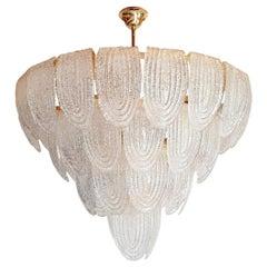 Large Mid-Century Translucent & Gold Murano Glass Chandelier, Mazzega Style 1970