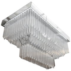 Large Mid Century Two-Tier Rectangular Chandelier with Staggered Lucite Prisms