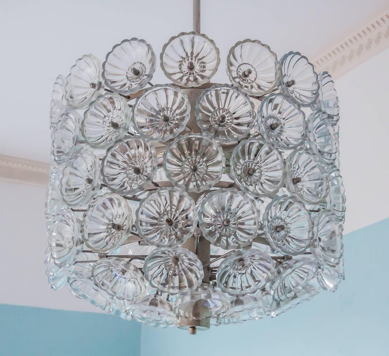 Large Midcentury Vintage Neuco Glass Flower Pendant, 1960s-1970s, Germany In Excellent Condition For Sale In Berlin, DE